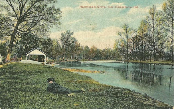1903 postcard shows people fishing and boating on Fall Creek (photo courtesy of Evan Finch)