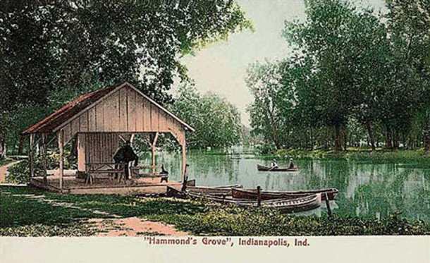 1910 postcard highlights the boathouse at Hammond's Grove (photo courtesy of Evan Finch)