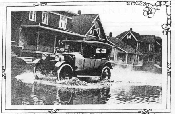 R. P. Henderson's touring car in the flood zone