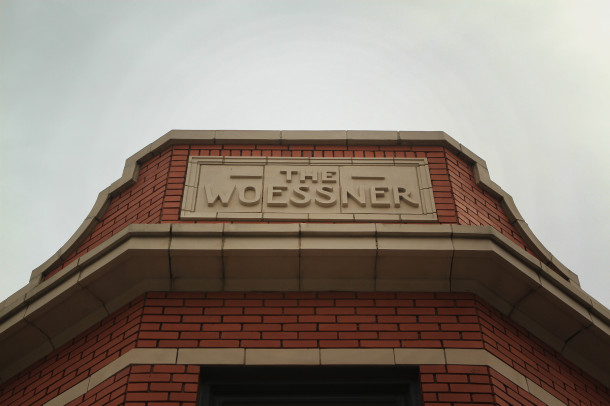 """The Woessner"" carved over corner entry, 2013, (c) photo by Kurt Lee Nettleton"