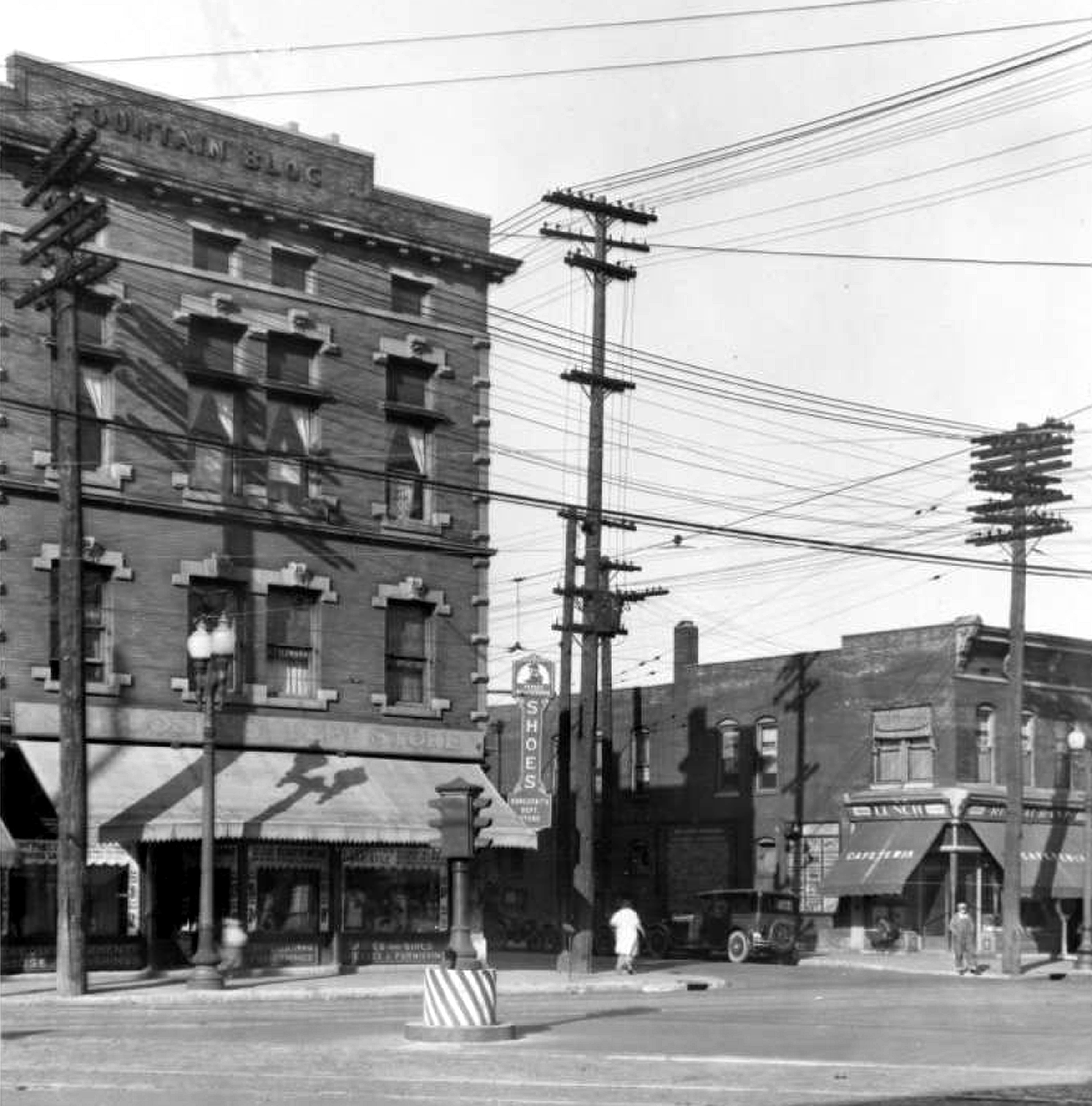 Indianapolis Then and Now: Fountain Square at Prospect and Virginia