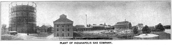 "The Indianapolis Gas Company had two gas holders and supplied more than 30,000 consumers. The plant eventually held a daily capacity of 7,000,000 cubic feet, according to a 1907 publication titled ""Hyman's Handbook of Indianapolis."""
