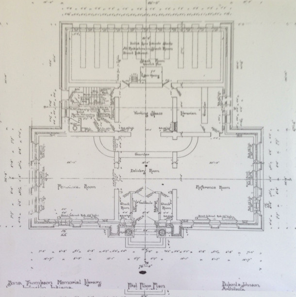 Original Library Floorplan - Irvington Historical Society Archives
