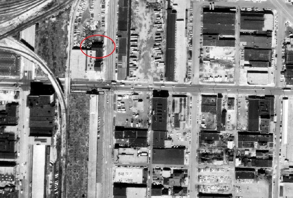 1972 satellite image of the intersection of South and Delaware streets (made available through MapIndy)