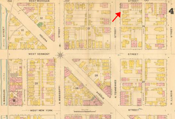 1887 Sanborn map shows a single-family residence at 241 N. Tennessee Street (map courtesy of IUPUI Digital Archives)