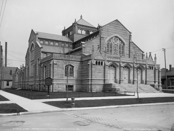 First Presbyterian Church erected a new building at 1505 N. Delaware Street in 1902 (photo courtesy of )
