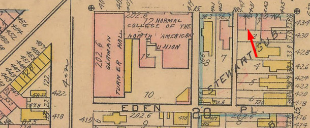 The 1916 Baist map of Indianapolis shows the two-family building (map courtesy of IUPUI Digital Library)