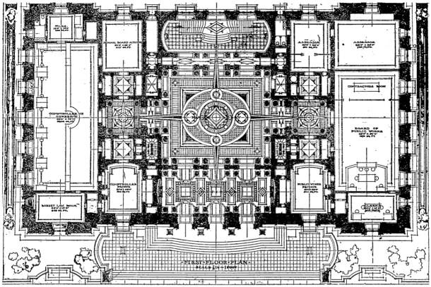 Floor plan, first floor, IndyStar, 2/14/1909