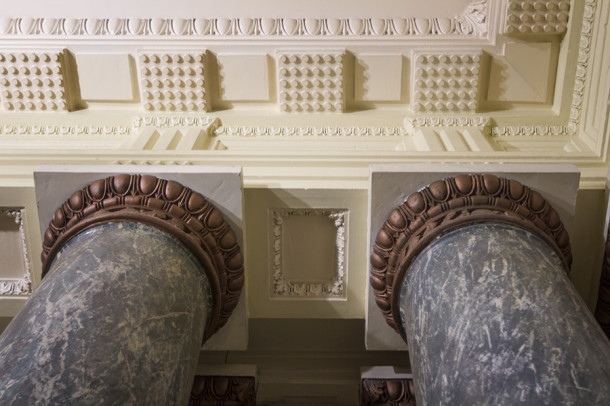 Columns and ceiling details on first floor, 2013, (c) photo by Kurt Lee Nettleton