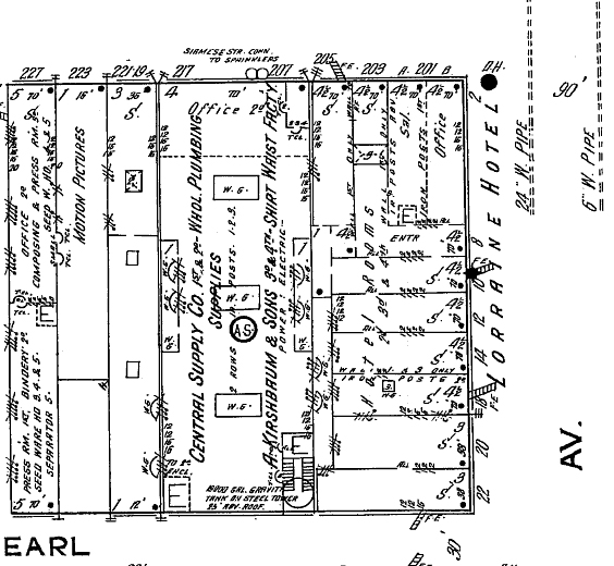 1914 Sanborn map, Lorraine on right side