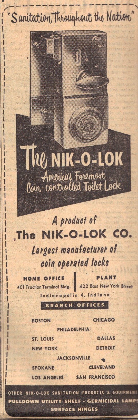 Sunday Adverts: Nik-O-Lok Toilet Lock Company