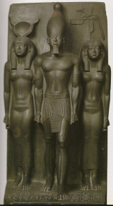 Triad of Menkaure with Hathor and Cinopolis Nome god (photo courtesy of Em Hotep Digest Vol 2 No. 1)