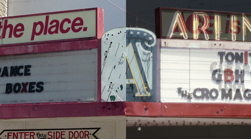 Arlington marquee, blended new and old.