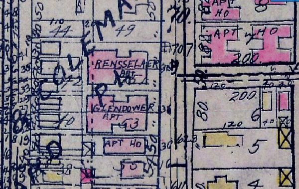 The 1927 Baist Map labels both the Rensselaer and the Glendower Apartments.