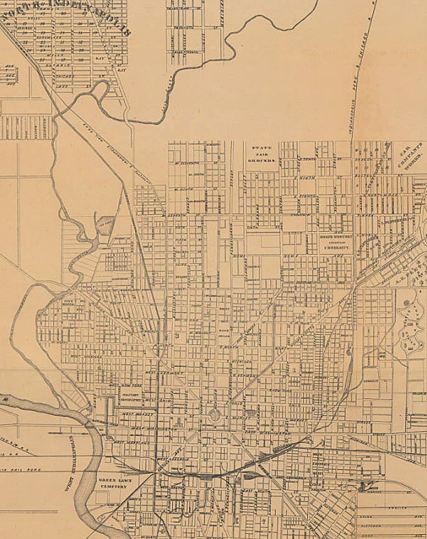 1874 Map of Center Township shows very little development beyond the Fairgrounds, which at that time were in the vicinity of 19th and Alabama Street (Swartz & Tedrow map courtesy of IUPUI Digital Library)