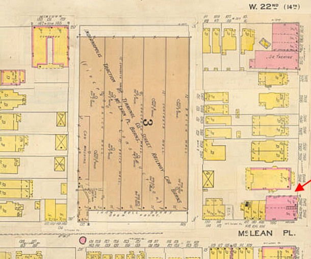 1898 Baist Map shows a 2½-story residence on the site (map courtesy IUPUI Digital Library)