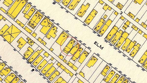 The 1915 Sanborn Map shows that 931 Elm St. has undergone a renovation, and has received an expansion. Though the carriage house is still standing according to this map, it was demolished in the middle of the 20th century. The properties surrounding 931 Elm St. finally resemble their current sizes and shapes as well.