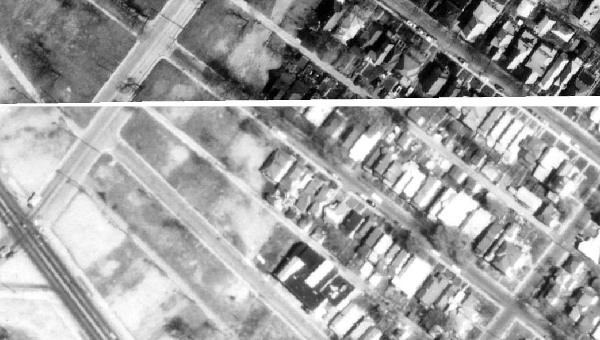 A 1972 aerial image of the North Square area, before the Interstate was constructed. (courtesy Map Indy)
