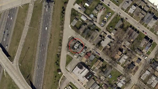 A 2012 aerial image of the Elm Street/North Square area. (courtesy Map Indy)