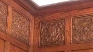 The 10th floor of the American Building, headquarters to the architectural firm that designed it, featured specially designed wood cornices and detailing. Notice the whimsical face that winks at us from one of the panels. Do you think that was Rubush.... or Hunter?