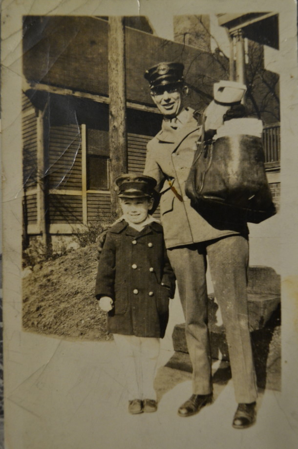 Marge's father, Robert, on his mail route around 18th and Delaware St. Courtesy of Marge Faulconer.
