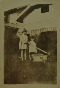Marge and her sister in front of their home, 5465 Kenwood, circa 1931. Courtesy of Marge Faulconer.