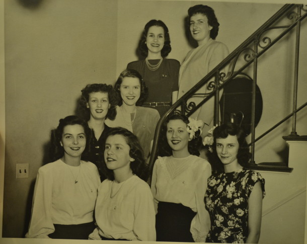 Marge (front and center - the only one not looking at the camera!) and her friends in the Butler Delta Gamma house.