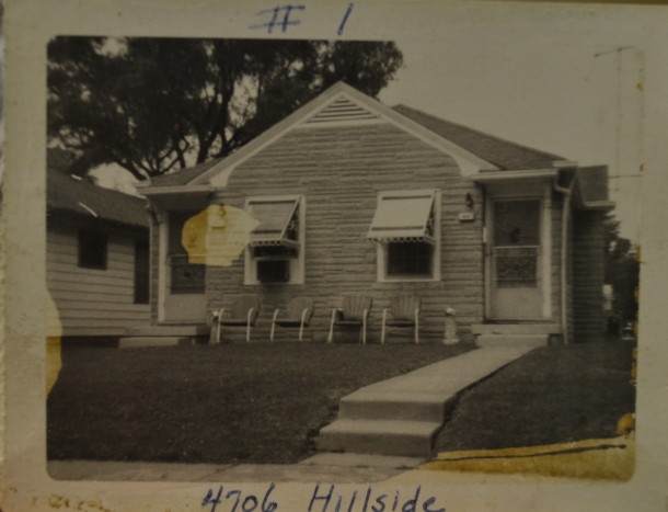 Tom and Marge's first house, 4706 Hillside Ave. off of Keystone Ave. Courtesy of Marge Faulconer.