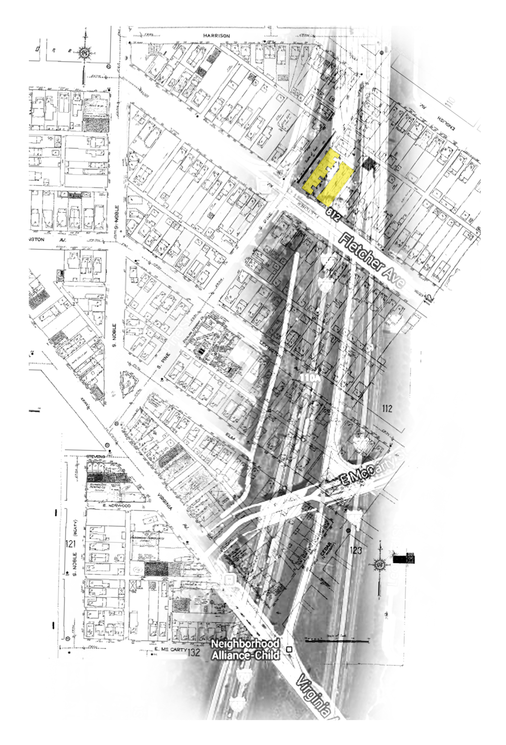 Map Of I 65 Layered On 1950 Sanborn Map Fletcher Place Fountain Square