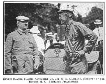 Elwood Haynes, president of Haynes Automobile Company conversing with W. S. Gilbreath, secretary of the Hoosier Motor Club at University Park
