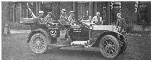 The Lincoln Highway sponsored Marmon was one of the tour participants that made it to California. Left to Right: Capt. Robert Tyndall, Carl G. Fisher, Charles A. Bookwalter, and Heine Scholler.