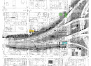 Map of I-65 layered on 1950 Sanborn map; Old Northside; building in yellow is Hazel Dell, green is Gausepohl, and blue is Walbrook