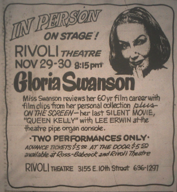 An advertisement for Gloria Swanson's appearance at the Rivoli Theatre appeared in the November 29, 1974 issue of the Indianapolis Star.