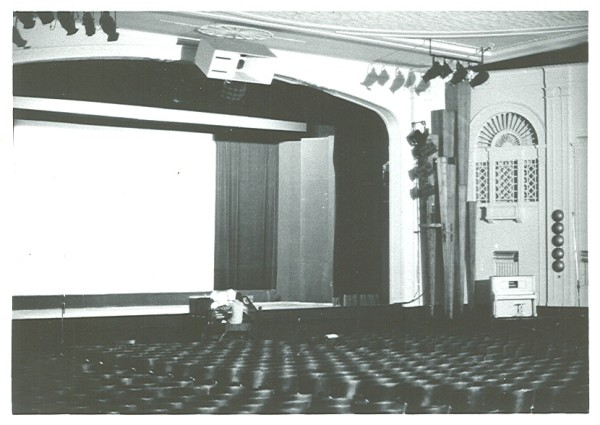 A 1970s photo of the inside of the Rivoli Theatre, including a view of the organ and one of the organ chambers. (photo courtesy Carlton Smith)