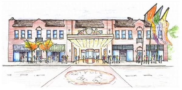 A rendering of historic facade restoration and addition of colorful streetscape elements (including an IndyGo bus stop and an inlaid brick paver crosswalk leading from the Rivoli entrance across 10th Street).