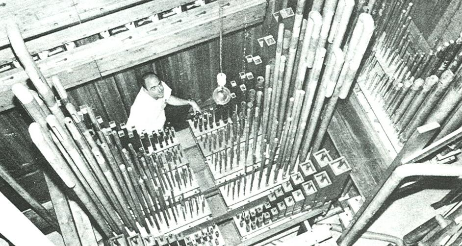 One of the two pipe chambers for the Louisville Uniphone Pipe Organ. The organ was featured in a Dec. 1966 theatre organ magazine. (courtesy Carlton Smith)