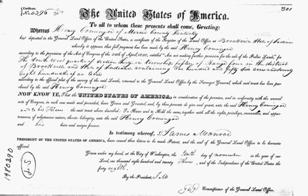 1823 Land Patent from the United States to Henry Comingore (image courtesy of Ancestry.com) CLICK TO ENLARGE