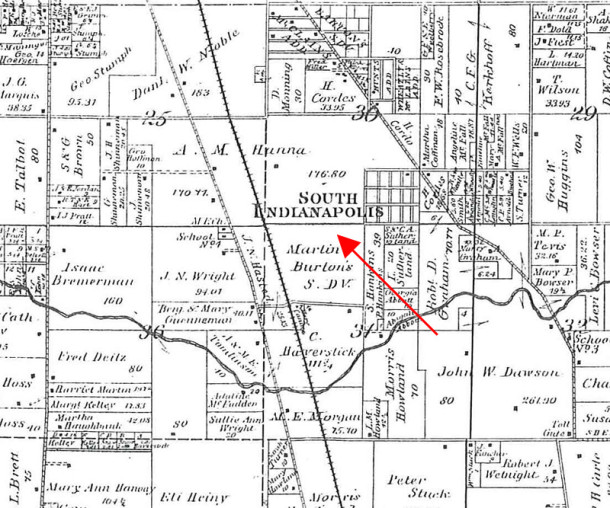 In 1889, the land that is now the campus of University of Indianapolis was owned by A. M. Hanna and Martin Burton (Griffing and Gordon 1889 Atlas courtesy of Indiana State Library)
