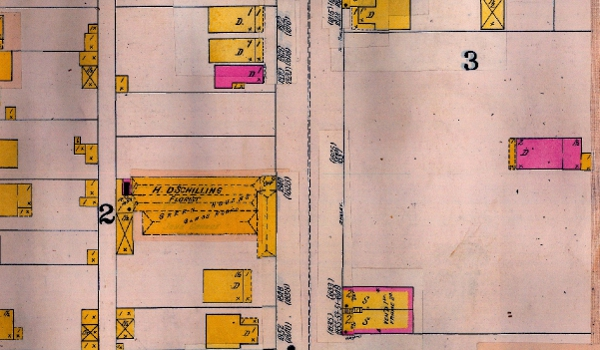 The 1898 Sanborn Map shows 1838 Olive St. (the pink dwelling to the far right) was once more secluded.