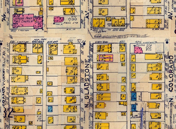 The 1915 Sanborn Map (updated to 1941) shows that the vacant lot north of 131 N. Gladstone (the only brick double visible) was originally occupied by another double.