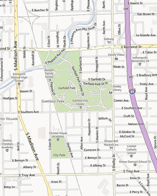 Map showing the streets surrounding Garfield Park (map courtesy of bing)