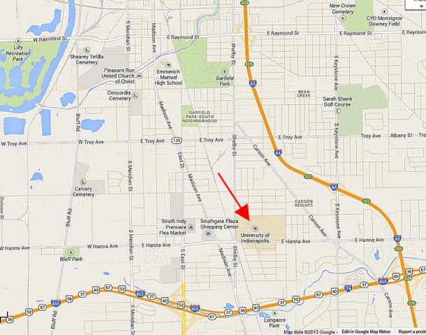 The campus of University of Indianapolis is on the south side of the capital city (map courtesy of Google)