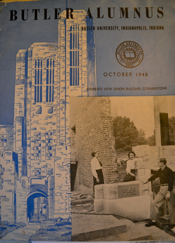 Joanie on the cover of Butler Alumnus (sitting), 194 . Courtesy of Joanie Nichols.