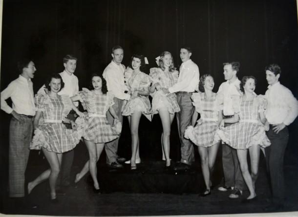Joanie (2nd girl from left) danced in Shortridge's annual SOMETHING. Courtesy of Joanie Nichols.
