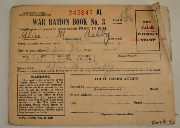8-year-old Alice's war ration book.