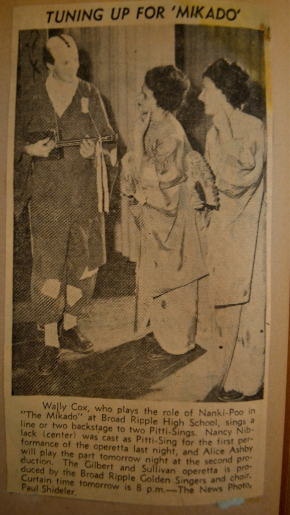 Alice (far right) featured in the Indianapolis News about her performance in Broad Ripple High School's Mikado.