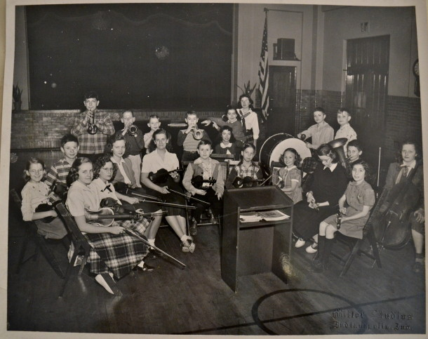 Alice's middle school orchestra at School 80. (Alice: front, 2nd from left).