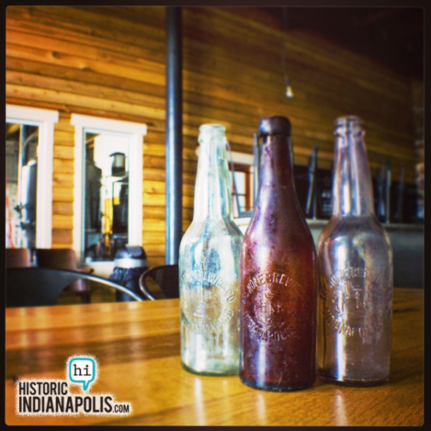 Three original Home Brewing Company bottles in the Indiana City Brewery tasting room. - Photo by Ryan Hamlett