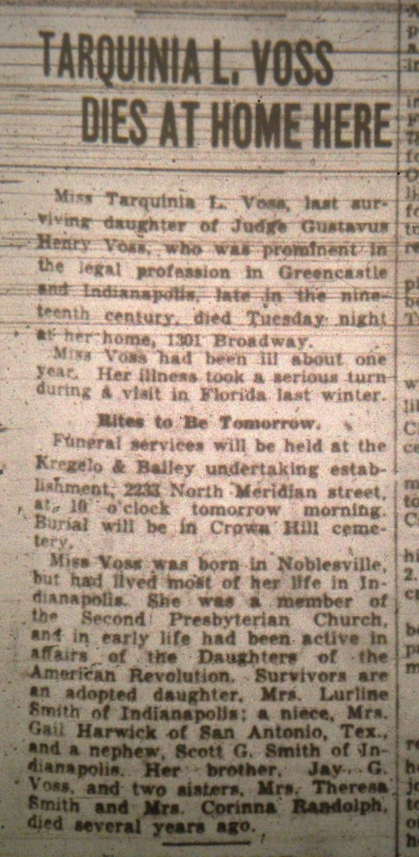 Voss's obituary, which appeared in the Indianapolis Star on Sept. 4, 1930.