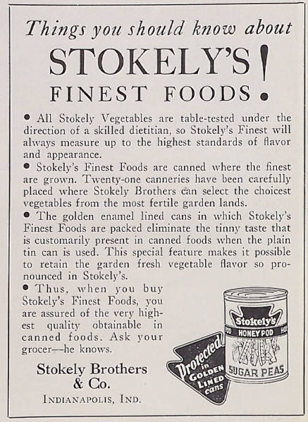 Sunday Adverts:  Stokely Brothers & Co.